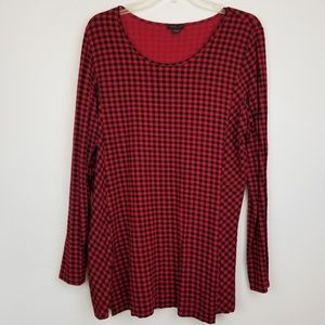 J.Jill Wearever Collection Red Black Gingham tunic